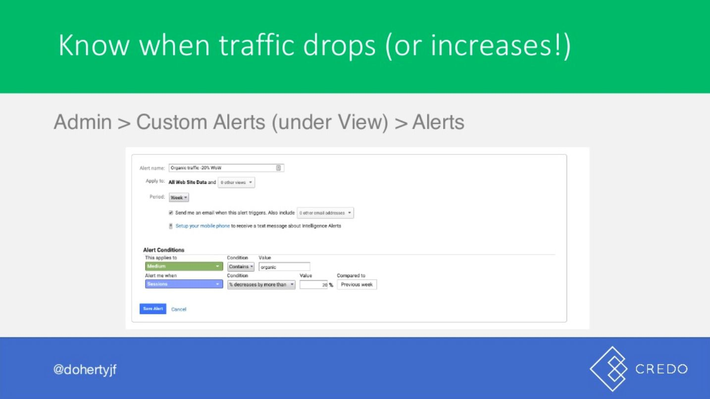 John Doherty's slide showing custom alerts in Google Analytics