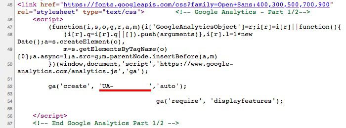 Example of Google Analytics tracking code