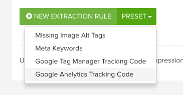 DeepCrawl Google Analytics Tracking Code custom extraction