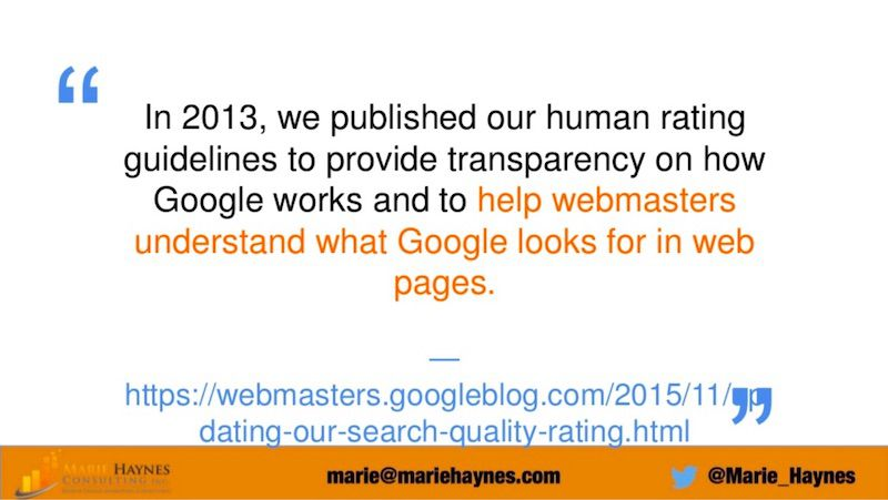 Google's Quality Raters' Guidelines - Marie Haynes