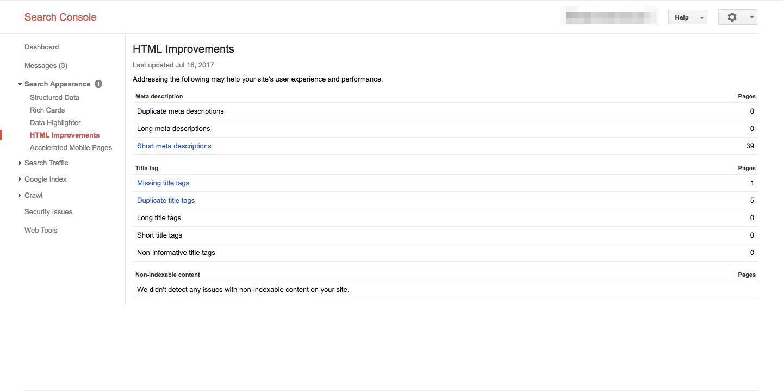 gsc html improvements report