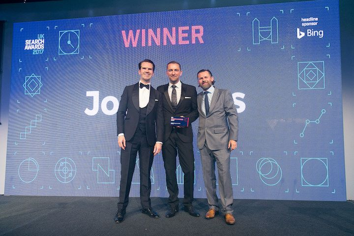 Jon accepting the UK Search Personality of the Year award