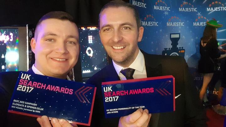 Jon with his UK Search Personality of the Year award