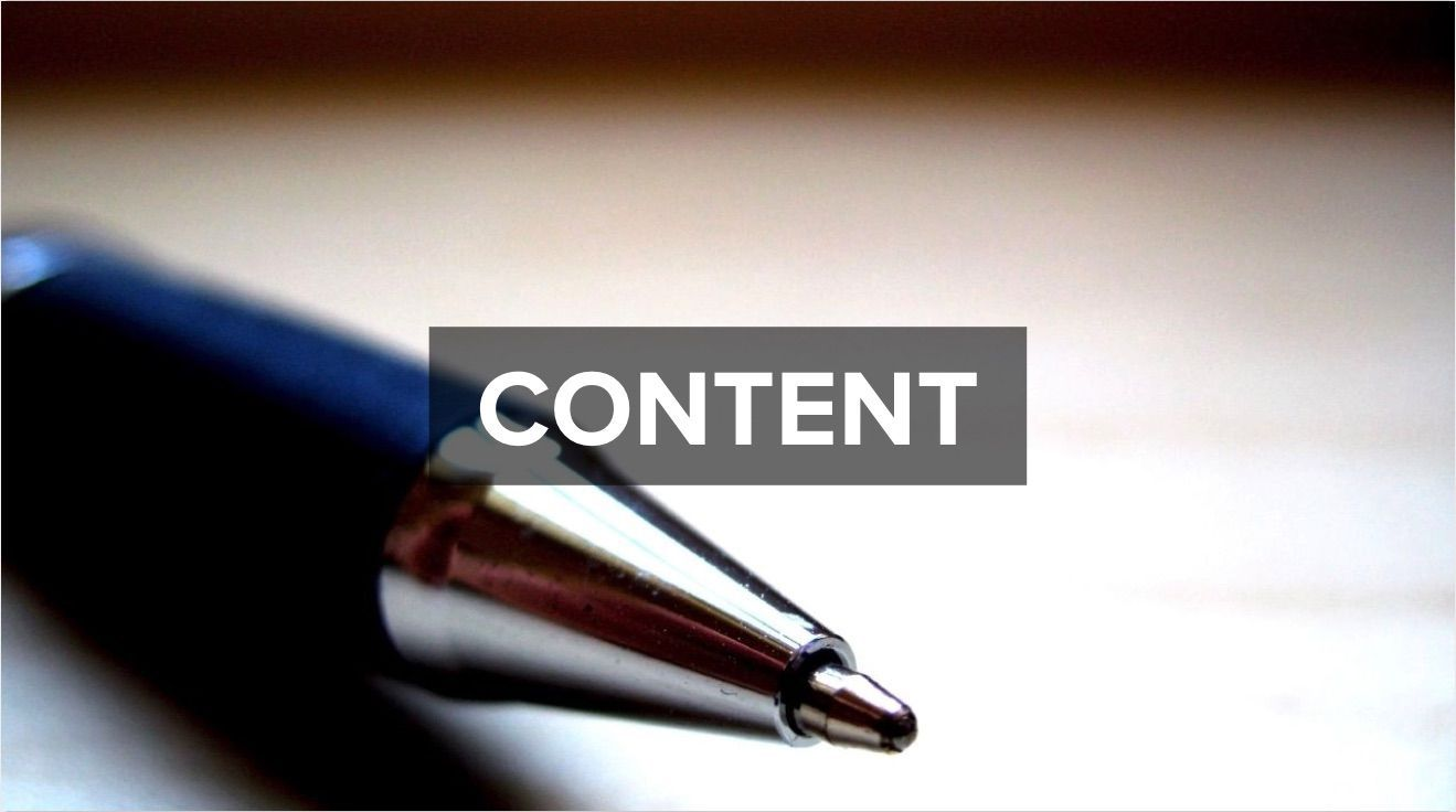 A pen with the heading 'Content'