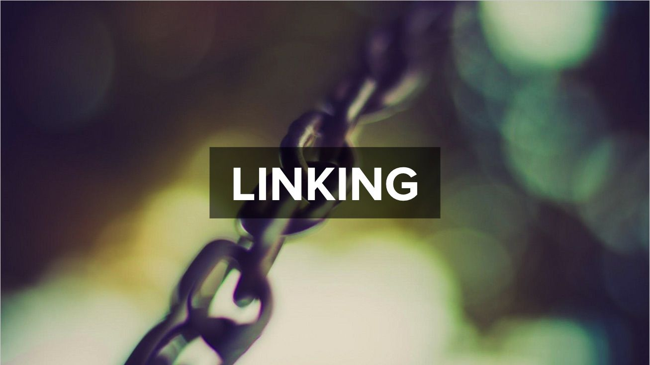 A metal chain with the title 'Linking'