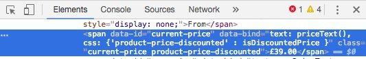 Product price in the source code