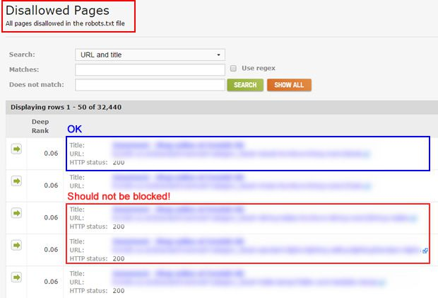 disallowed pages report in deepcrawl