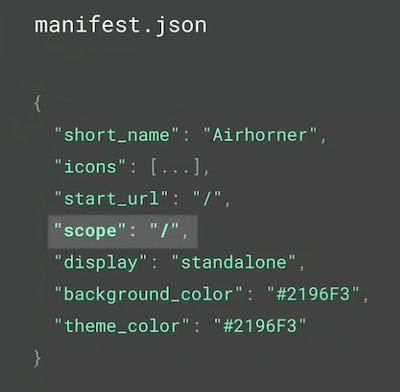 Specify PWA URL scope in the code