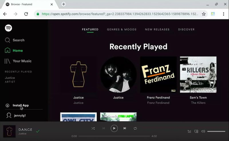 Spotify desktop PWA live demo