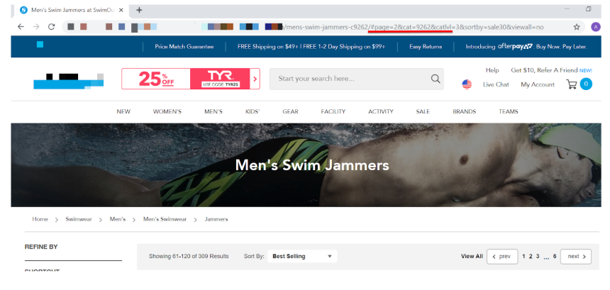 Website using fragment identifier in URL