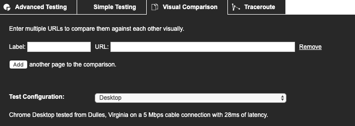 WebPageTest Visual Comparison configuration
