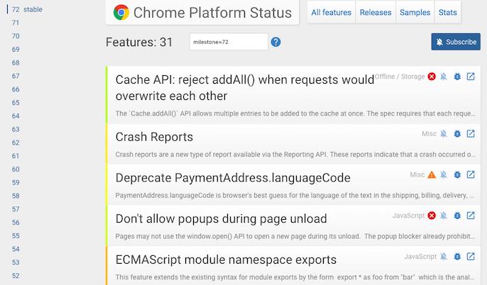 Screenshot of Chrome 72 platform status