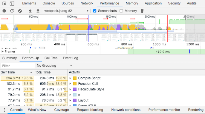 Chrome DevTools performance tab