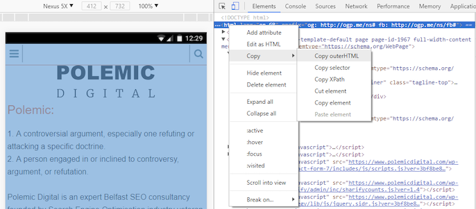 Screenshot showing how to copy outerHTML
