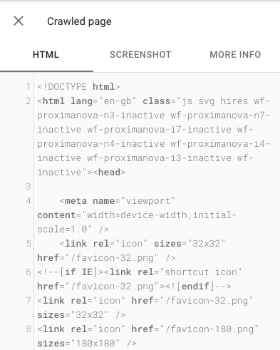 Crawled page HTML in URL Inspection Tool