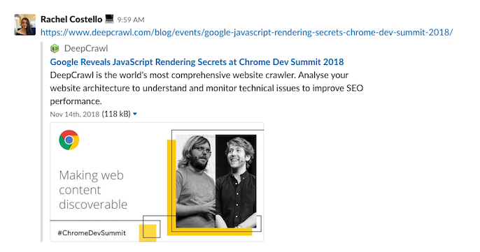 Sharing a URL in Slack