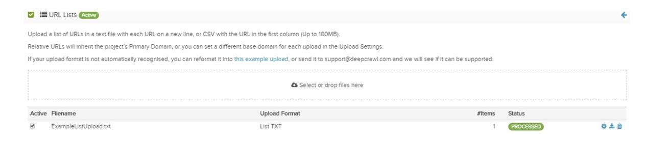 URL list processed