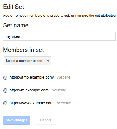 Separate properties in Google Search Console
