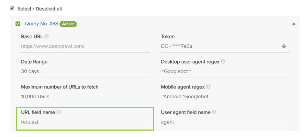 Query Builder URL Field Name