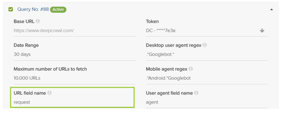 Query Build URL Field Name Field