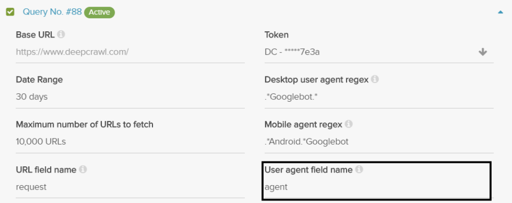 Query Builder User Agent Field Name