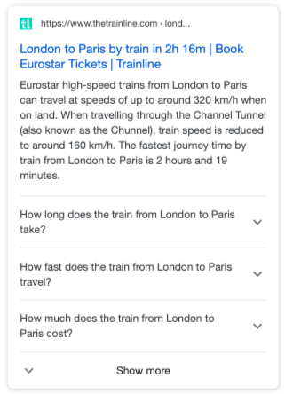 Trainline FAQ Markup