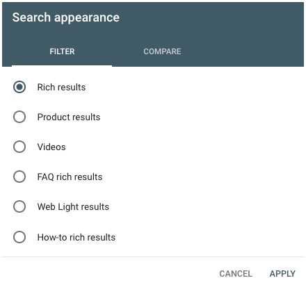 Google Search Console Structured Markup Filters