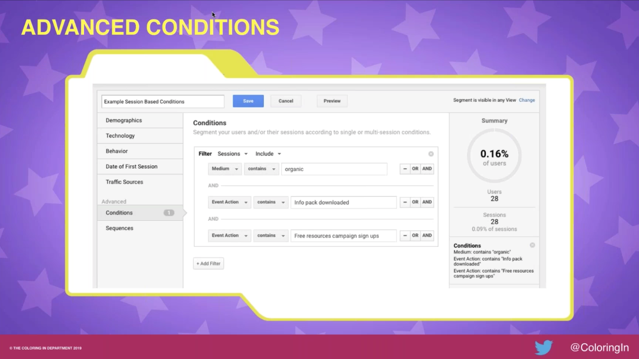 Google Analytics advanced conditions