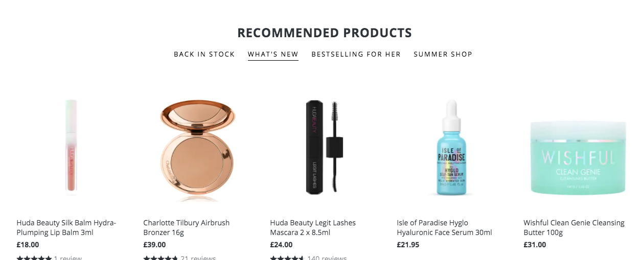 Recommended products option