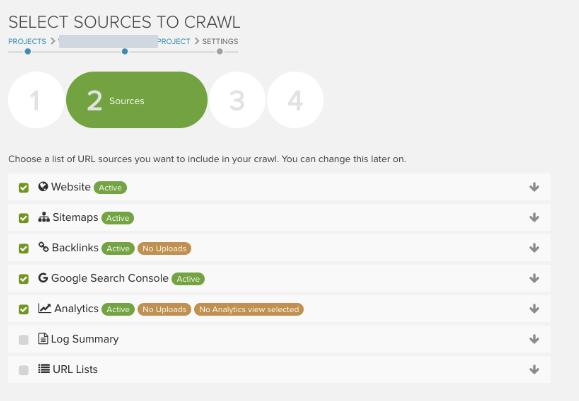 DeepCrawl Sources