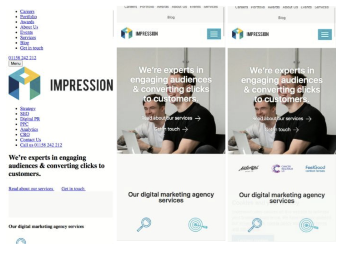 Impression mobile website LCP