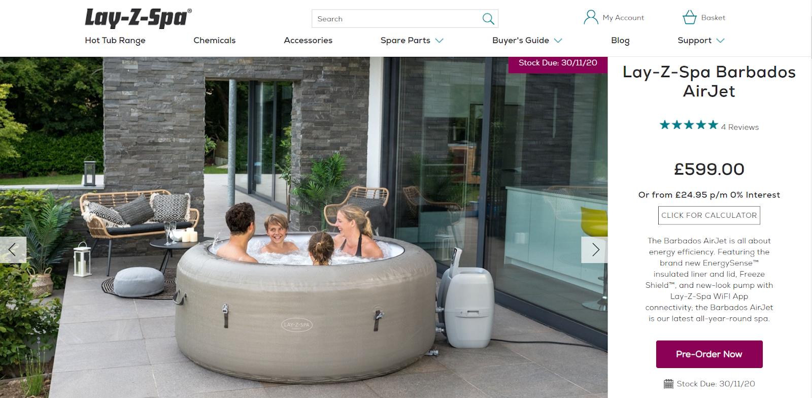 lay-z-spa website