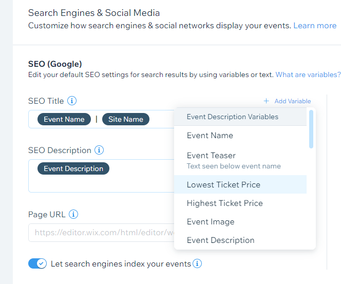 The SEO Patterns dashboard showing variables unique to 'Event' pages