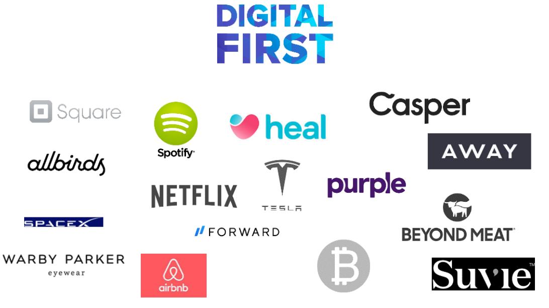 slide showing digital-first brands