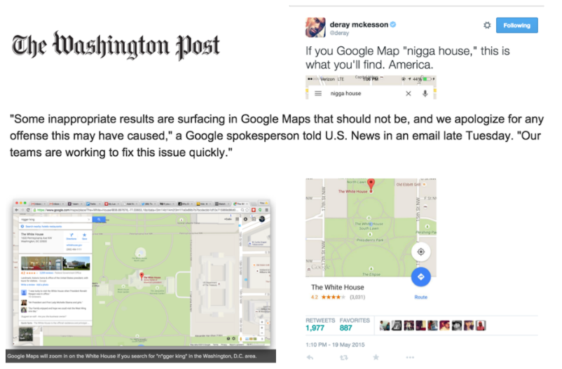 slide showing racist results in Google Maps