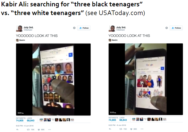 slide showing image search results for three white teenagers vs three black teenagers
