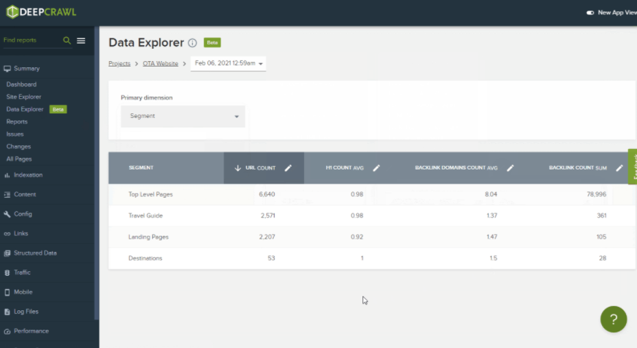 DeepCrawl Data Explorer
