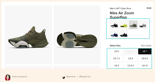 Nike product page showing multiple colour options on a single page