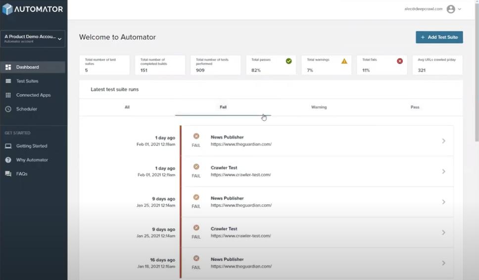 Automation Hub dashboard in app