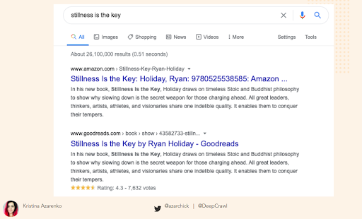 slide showing google search for stillness is the key book