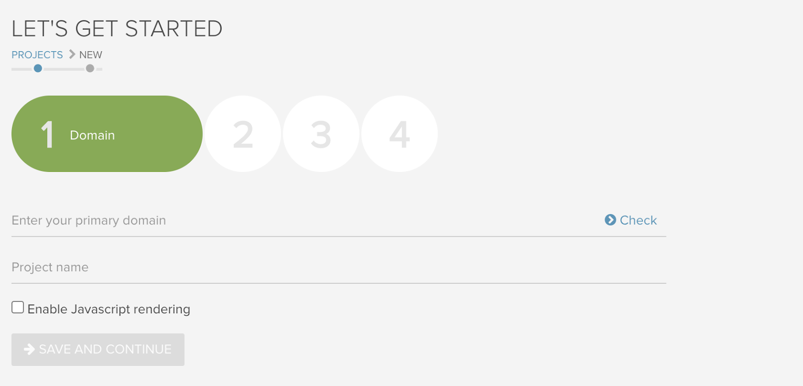 Deepcrawl app get started screen