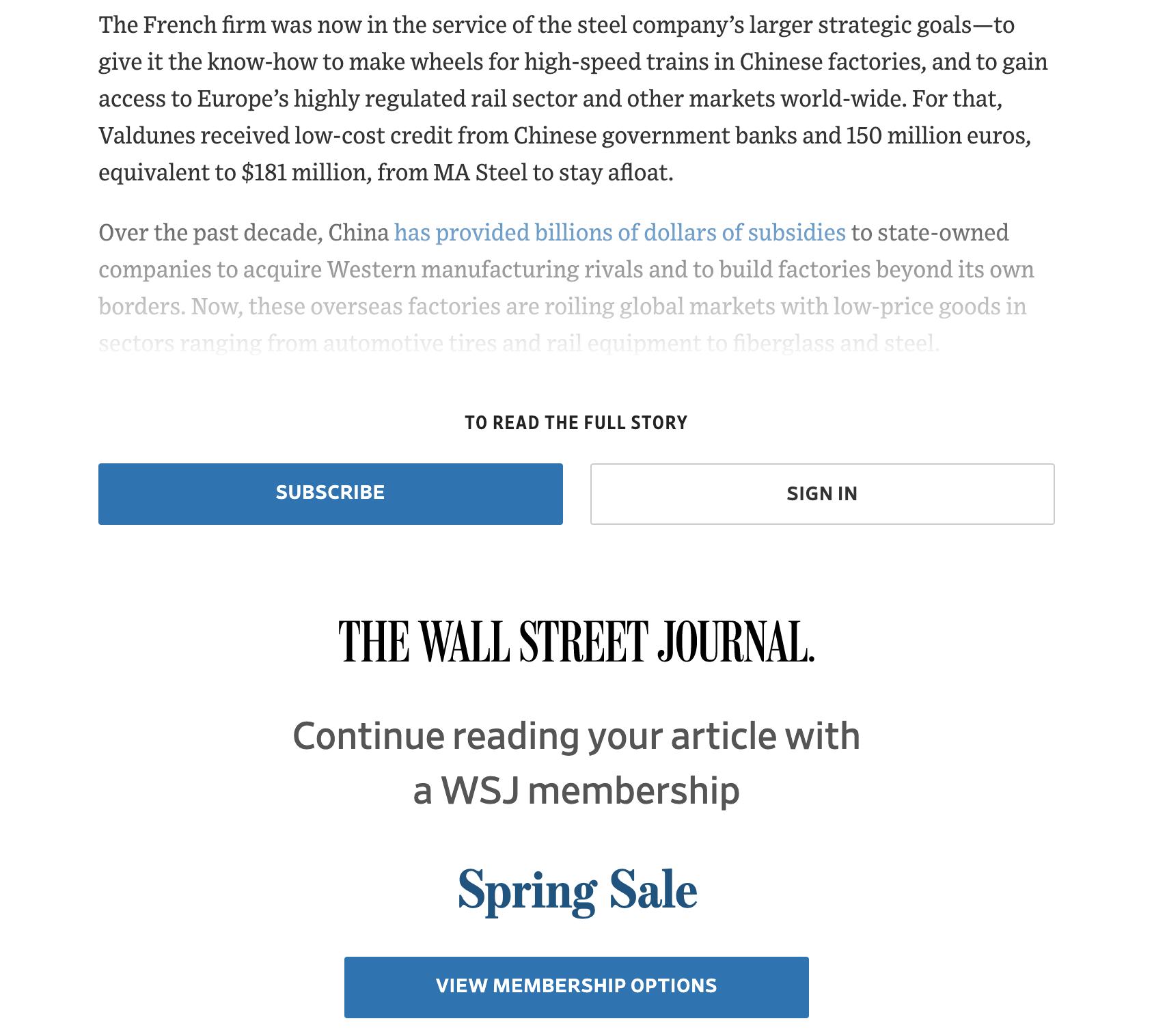 Wall Street Journal Paywall