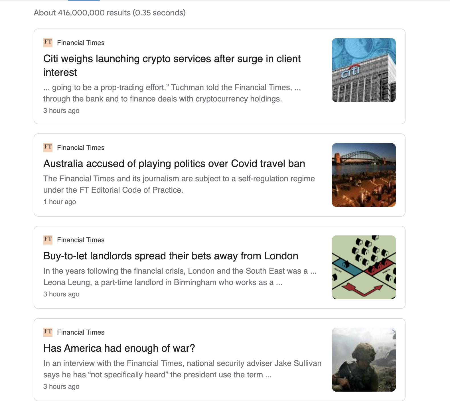 Financial Times Google News