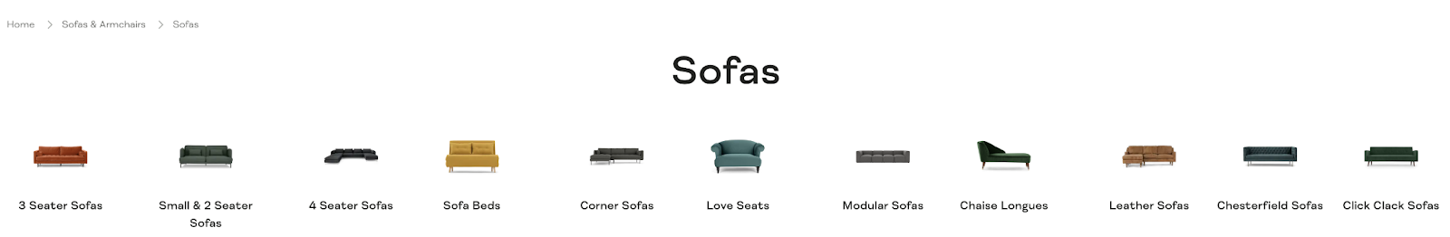 subcategory linking example on a website with multiple different sofa categories