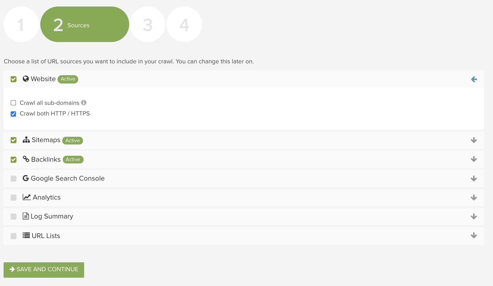 Using the Deepcrawl SEO platform to configure URL sources for a crawl