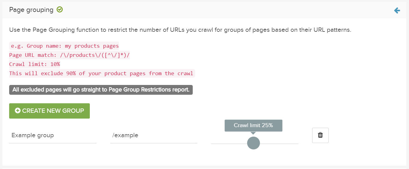How to group pages in crawl restrictions in Deepcrawl advanced settings