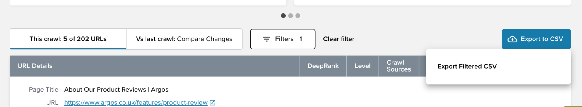 Exporting a filtered CSV with segmentation on Deepcrawl
