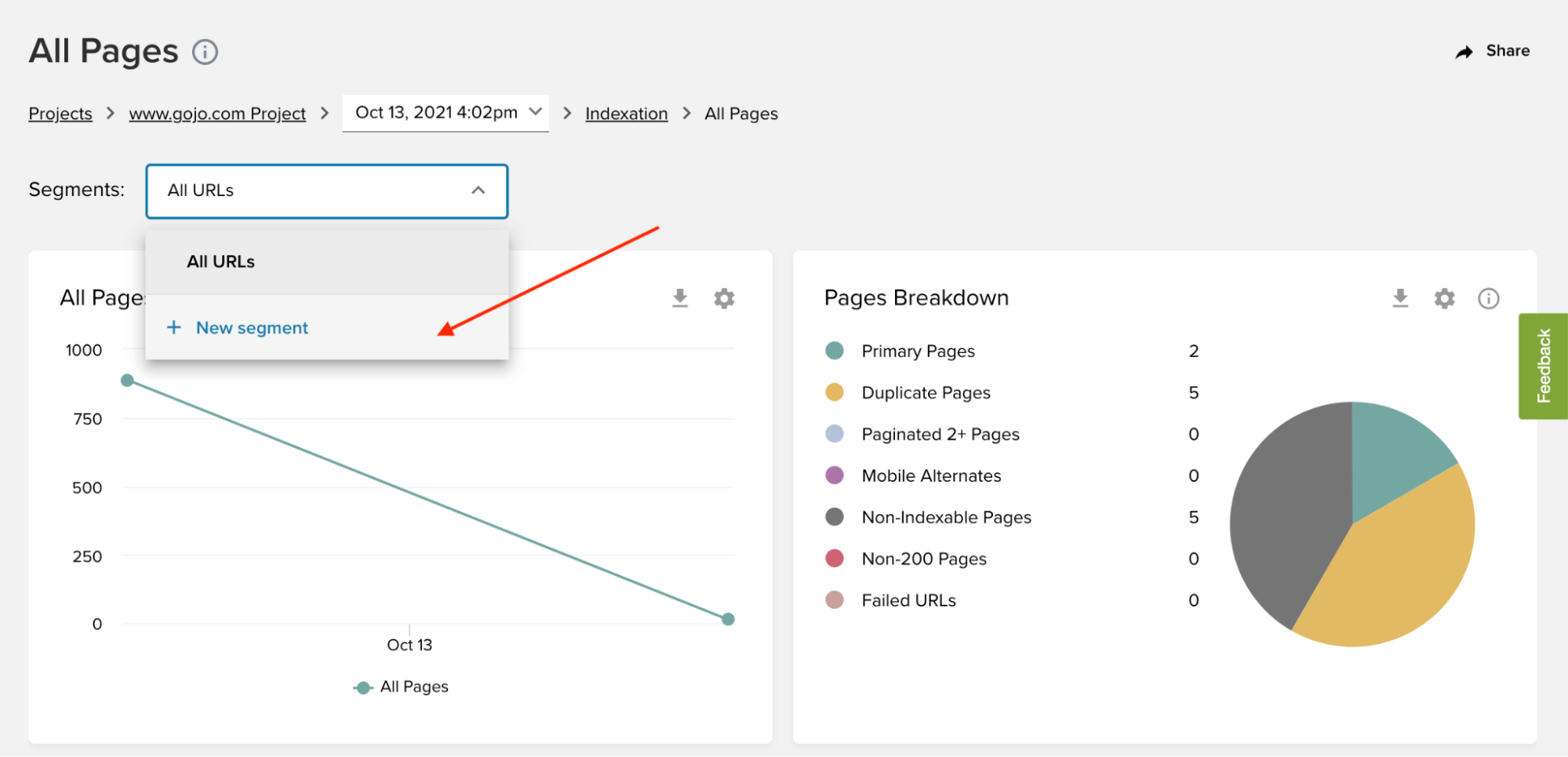 How to add a new segment to your Deepcrawl SEO reports