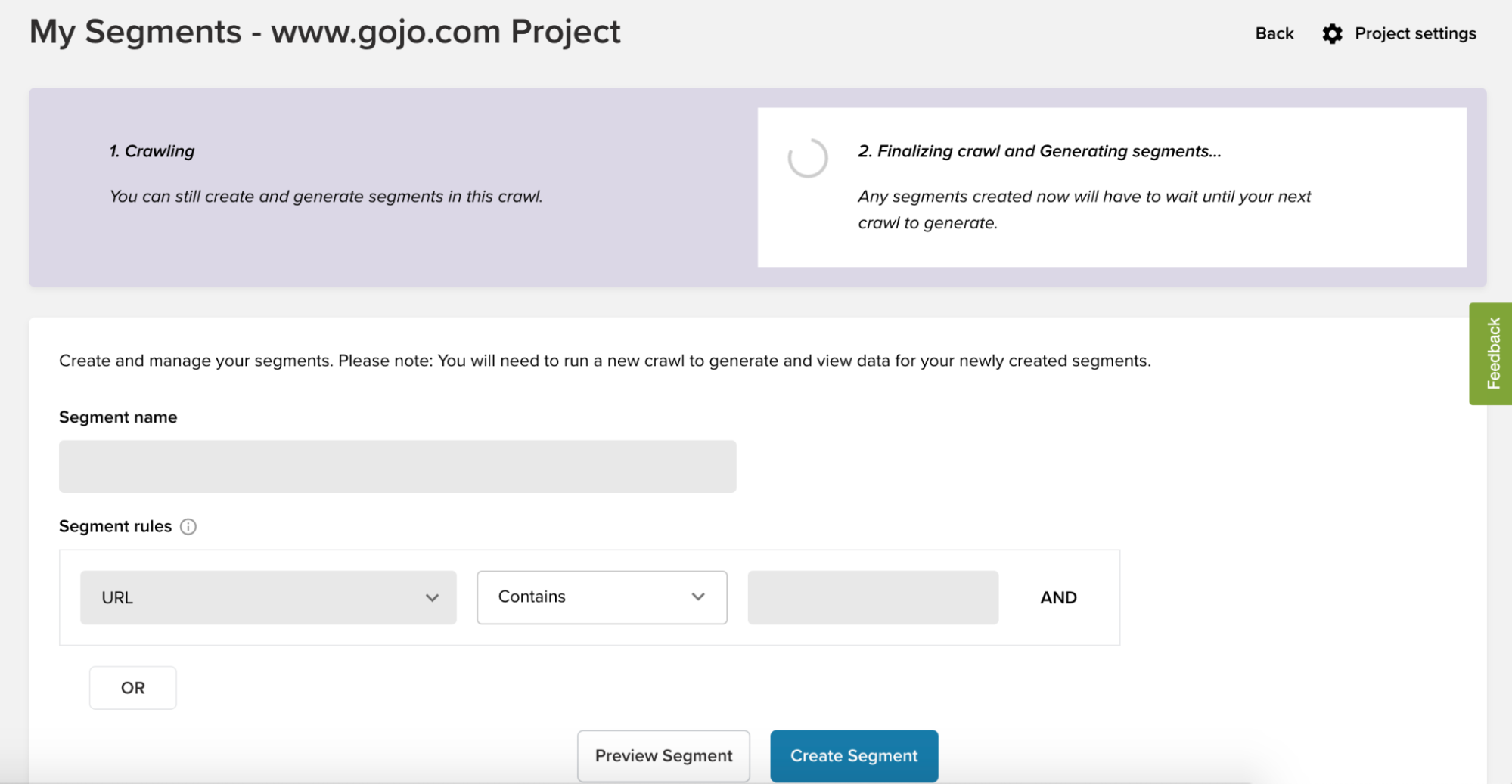 Example of a Deepcrawl crawl during the finalization stage — create segments before this stage